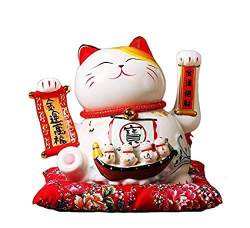 AMYZ Figura de Porcelana de Gato de la Suerte,Feng Shui Chino,Gato de la Fortuna Maneki Neko con Hermosa Caja,2