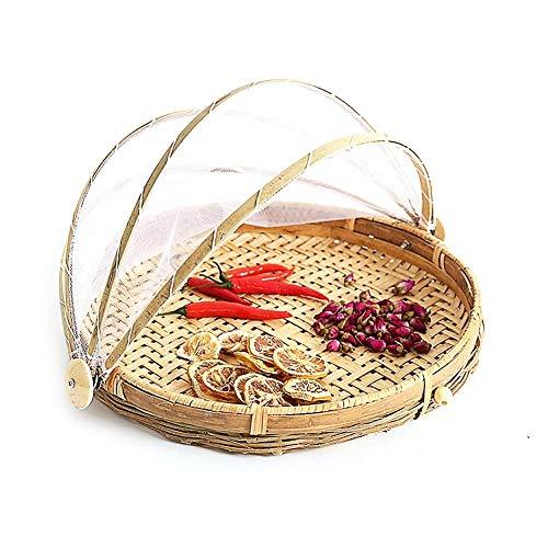 SZETOSY Bambus-Zelt-Korb - Lebensmittel-Servierkorb, Netzkorb, handgewebt, für Picknick, Lebensmittelabdeckung, Outdoor, Schutz vor Insekten und Staub, für Obst, Gemüse, Brot, Bambus, stil 3, Dia.40cm