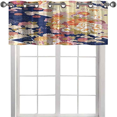 Cenefa de cocina, motivos de kimono tradicional, composición, patrones florales, obras de arte vintage, 127 cm de ancho x 45 cm de largo, cortinas de valencia para ventanas, multicolor