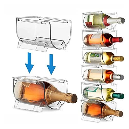 WWWL Estantería de Vino 1/2 / 4pcs Organizador de refrigerador para refrigerador Titular de Botella Universal Rack de Vino Bebida apilable Organizador de Botellas Champagne Caja de Almacenamiento