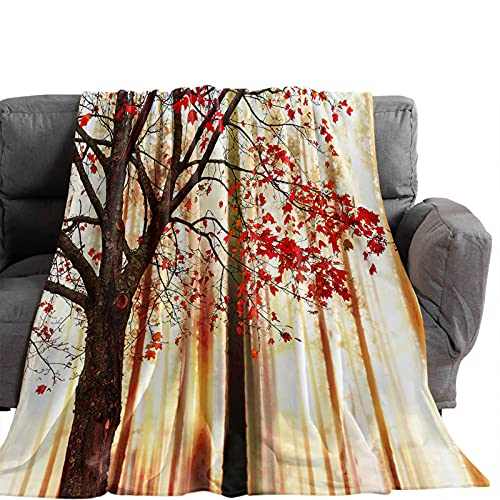 Throw Blankets, Autumn Forest Red Leaves Tree Luxury Ultra Soft Flannel Bed Blanket Natural Fall Plant Cozy Warm Fleece Cover for Sofa Couch Chair 60x80In
