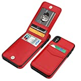 iPhone X iPhone Xs Case Wallet with Credit Card Holder, KIHUWEY Premium Leather Magnetic Clasp Kickstand Heavy Duty Protective Cover for iPhone Xs/X 5.8 Inch (Red)