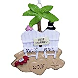 Personalized Wedding Couple on a Beach Christmas Ornament 2021