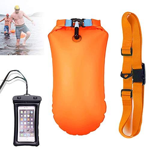 Boa Gonfiabile 20L - Boa per nuoto per adulti con sacca stagna - Boa per nuoto in acque libere e triathlon Boa galleggiante gonfiabile - Borsa impermeabile per la conservazione di sicurezza (Arancia)