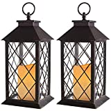 "Bright Zeal 2-Pack 14"" Distressed Bronze Vintage Candle Lantern with LED Flickering Flameless Candle - Outdoor Hanging Lanterns with Timer Candles - Tabletop Lantern Decorative LED Candle Lantern"