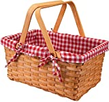 Bekith picnic de cesta de mimbre lino rojo, 32. 5x20 x16. 5cm