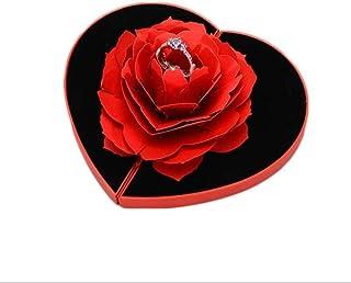 JLYLY Ring Box 3D Joyería del Anillo De Compromiso De La Boda Caja De Presentación Stand De Joyería Boda De Rose De Almace...
