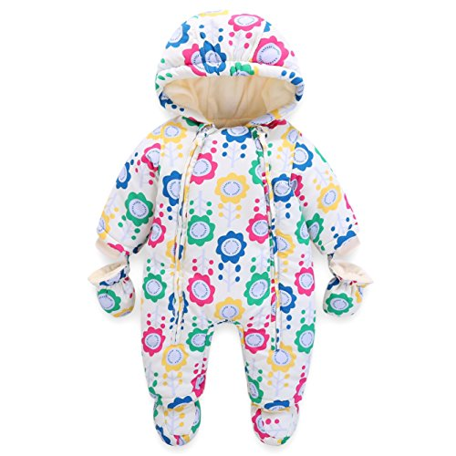 Baby Overall Infant Hooded Romper Winter Jumpsuit Zipper Front (3-6 Months)