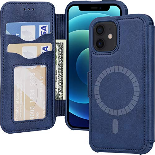 Arae Compatible with iPhone 12 Mini Case Wallet [Magnetic Wireless Charge] with Card Holder [RFID Blocking] for iPhone 12 Mini - Blue