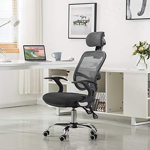 Ergonomische bureaustoel met hoge rug mesh bureaustoel met armleuningen computerstoel in hoogte verstelbaar en hoofdsteun verstelbaar