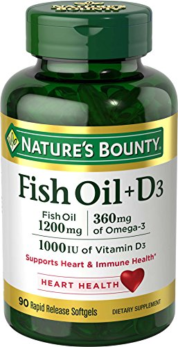 Fish Oil plus Vitamin D3 by Nature's Bounty, Contains Omega 3, Immune Support & Supports Heart Health, 1200mg Fish Oil, 350mg Omega 3, 1000IU Vitamin D3, 90 Softgels
