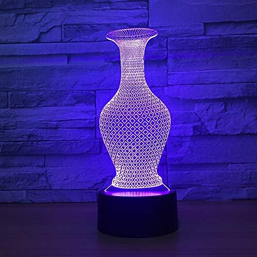 Luz de noche 3D 7 colores cambiantes jarrón botella decoración de escritorio luz de noche luz de ilusión 3D luz de decoración de oficina para sala de estar