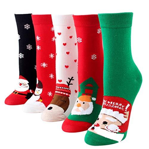 Bageek Calcetín de navidad,5 pares Calcetines Esponjosos Calcetines Navideños Calcetines de Invierno Calcetines de navida para Adultos Cómodo Calcetines Navidad Regalos