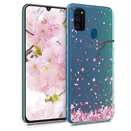 kwmobile Hülle kompatibel mit Samsung Galaxy M30s - Hülle Handy - Handyhülle - Kirschblütenblätter Rosa Dunkelbraun Transparent