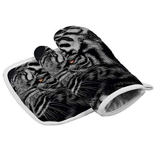 N/A Isolatie handschoenen zwart en wit gestreepte tijger behang Professionele hittebestendige Oven Mitts, Inclusief geïsoleerde handschoenen en geïsoleerde vierkante pads