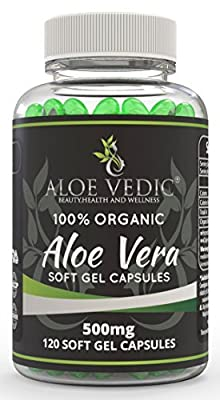 Aloevedic 100% Natural Aloe Vera Soft Gel Capsules - 500mg Supplements for Detox Colon Cleanse Weight Loss Diet Metabolism Stomach Digestion and Tablets for Hair and Face Skin Care - 120 Pure Pills from Aloe Vedic Beauty Health And Wellness