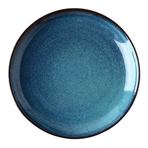 DorisAA Plato de cena de cerámica de 8 pulgadas de la placa de alta calidad de porcelana azul esmalte Hotel hogar vajilla