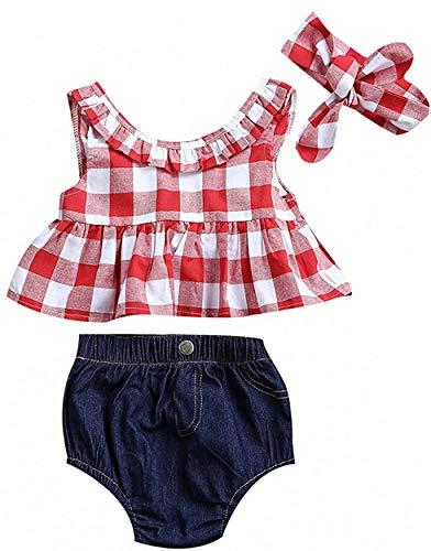 Bebé Recién Nacida Ropa Verano 3 Piezas Conjunto Top Camiseta Corta sin Mangas + Pantalones Cortos de Cintura Elástica + Diadema Traje para Niñas Pequeñas (Rojo + Denim, 6-12 Meses)