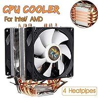 3 Pin 4 Heatpipes CPU Cooler Cooling Fan Radiator Quiet Dual Fan Cooler Heatsink for Intel LGA 1150/1151/1155/1156/1366/775 AMD