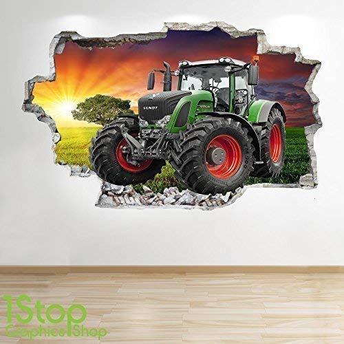 1Stop Graphics Shop Tractor Wandaufkleber 3D Optik - Schlafzimmer Lounge Natur Farm Hof Wand Abziehbilder Z679 - Medium: 60 cm x 90 cm