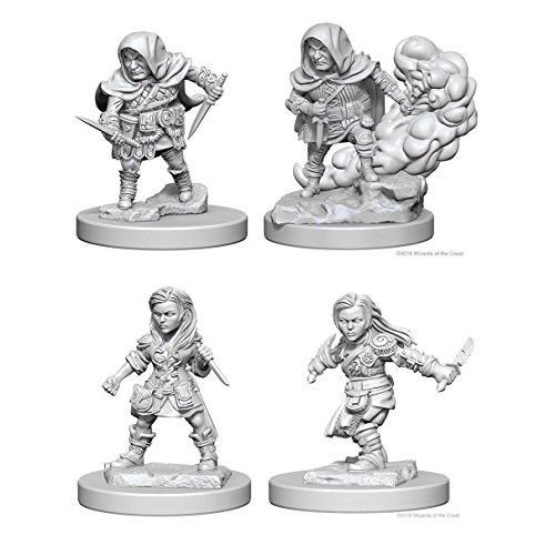 Dungeons & Dragons Nolzur's Marvelous Unpainted Miniatures Bundle: Halfling Male Rogue & Halfling Female Rogue
