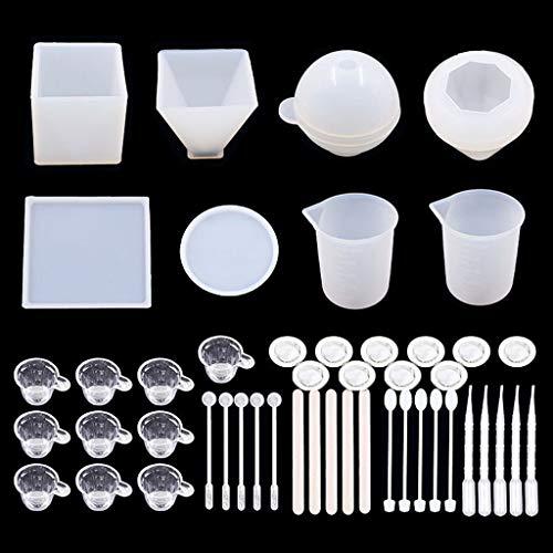 follwer0 48-teilige Silikonharzformen Epoxidharzgussformen, einschließlich 3D-Pyramiden-Diamantschmuckgussformen mit kubischer Kugel, Kerzenherstellung von Harzsets