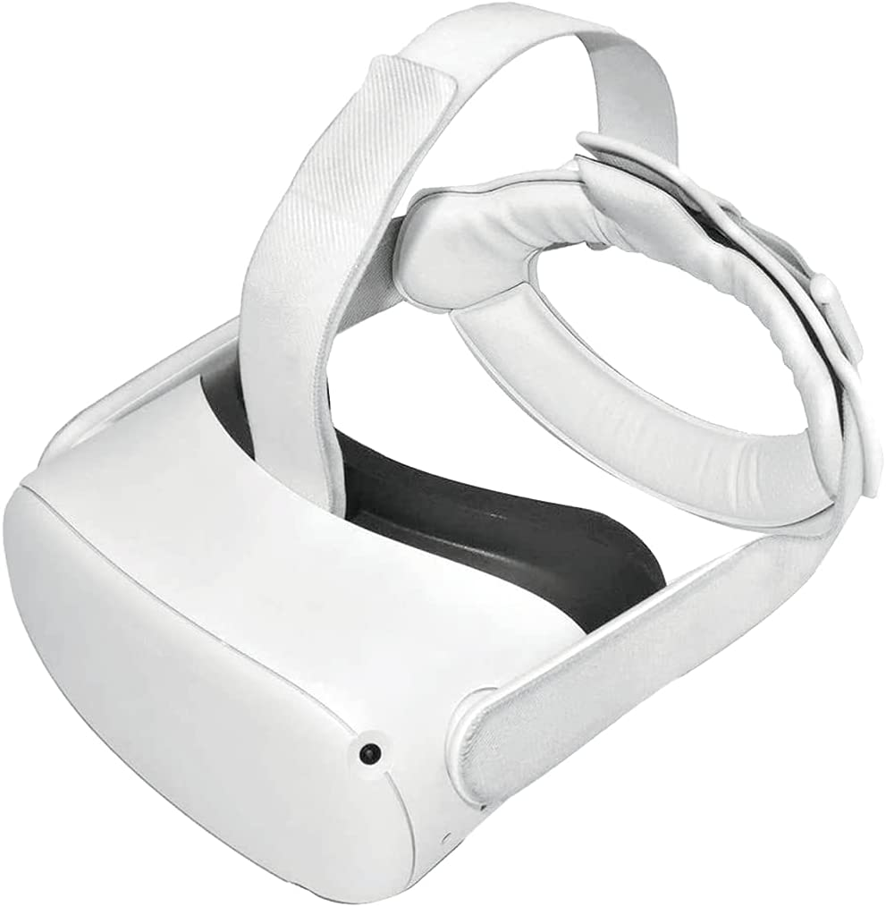 Gravity Pressure Reducing TPU VR Accessories Head Strap PU Foam Pad for Oculus Quest 2 VR Headset Cushion Headband Fixing Non-Slip Pressure-Reduce (White)