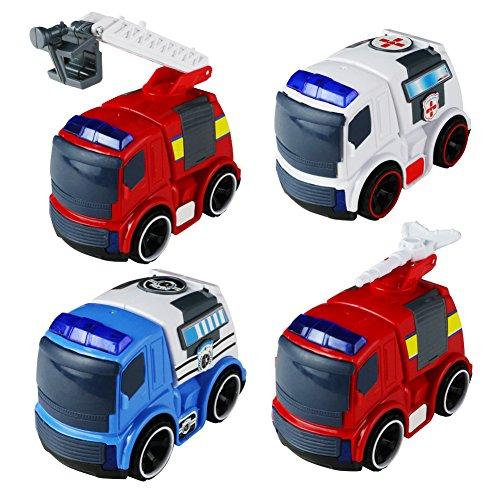 Coches de Juguete Juguetes de Vehículos Fricción Coche de rescate con Luz y Música, 4pcs