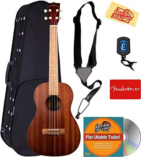 Kala MK-B Makala Baritone Ukulele Bundle with Hard Case, Tuner, Strap, Fender Play, Austin Bazaar Instructional DVD, and Polishing Cloth