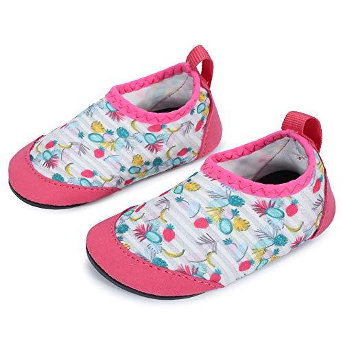 JIASUQI Baby Kleinkind Säugling Barfuß Schwimmen Wasser Haut Schuhe Aqua Socken für Strand Schwimmen Pool,Weiße Frucht,6-12 Monate (Herstellergröße : 17/18)