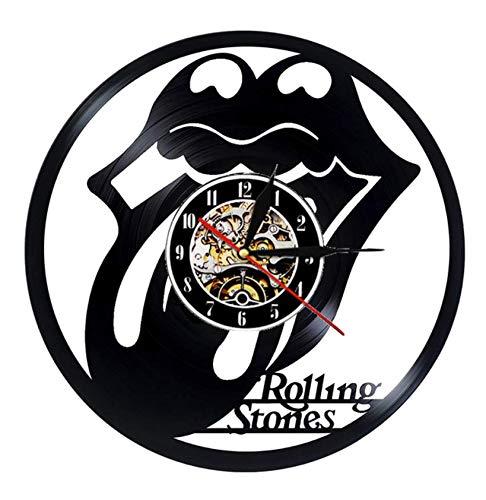 """XZXMINGY Disco de Vinilo Reloj de Pared Diseño Moderno Tema de la música The Rolling Stone Band Relojes Colgantes Reloj de Pared Vintage Decoración para el hogar Silent 5 12""""/30cm"""