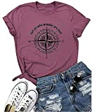 Compass Graphic Women Travel Tshirt Not All Who Wander are Lost Casual Tops Tees 2020 Tshirts(Purple M)