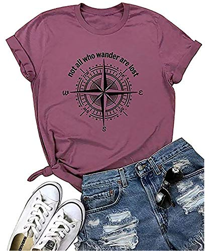 Not All Who Wander are Lost Tops Compass Tees Summer Letter Printed Funny Graphic T Shirt Women(Purple XL)