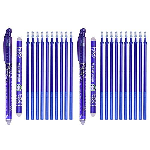 Beetest 22 PCS Penna Cancellabile, Penne a Inchiostro Gel Cancellabili, Penne Blu da 0,5 Mm 2 PCS +20 PCS Ricariche + 2 Pezzi di Gomma da Cancellare per Bambini