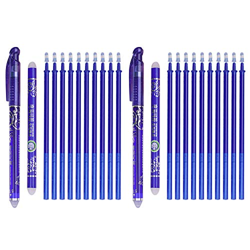 Radierbarer Kugelschreiber, Stift Radierbar, 2 STÜCKE Stift Radierbar 0,5mm Gel Ink Pens + 20 STÜCKE Minen + 2 STÜCKE Radiergummi Sticks für Studenten Schule Büromaterial