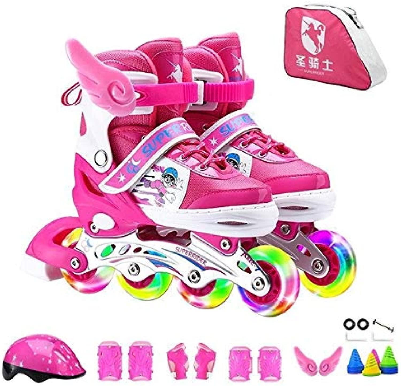 WTYD アウトドアスポーツ用品 調整可能なフルフラッシュ子供単列4輪ローラースケートスケート靴贅沢セット、サイズ:S(ピンク) アウトドアライフのために