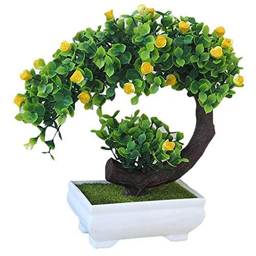 SuperglockT Kunstpflanze Rosenbaum klein Kunstbaum mit Rosenblüten im Topf Künstliche Pflanzen Kunstbonsai Kunststoff Zimmerpflanzen Hochzeit Deko 20cm Hohe (Gelb)