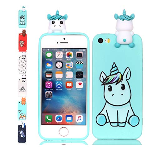 Universecase Cover iPhone 5 5S SE, Custodia iPhone 5 5S SE 3D Unicorno Verde Chiaro Squishy Kawaii Toy Animal, Silicone Case Antiurto Anti-Graffio Bumper Protettiva Caso