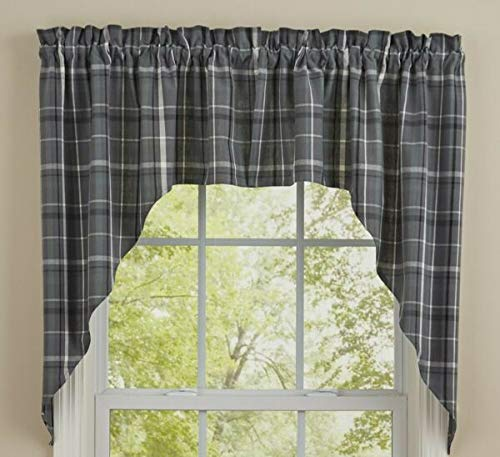 MIABE Cutarins Supplies for Beaumont Swag Curtains Gray Black White Plaid Country Farmhouse Window 72WX36L for Windown Decor, Home Decor