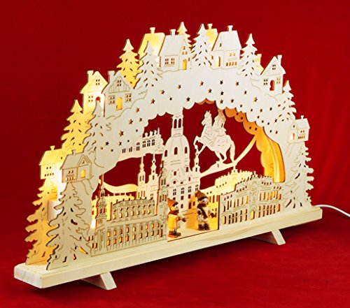 Wichtelstube-Kollektion XL Schwibbogen Dresden mit Winterfiguren innen beleuchtet Original Vogtland Souvenir