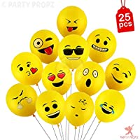 "Toys and Games 25pcs latex yellow emoji balloons, great birthday party favor ideas and birthday party decoration different emoji universe designs, randomly send each design Standard 12"" latex balloons, great holiday party favors Good quality, any que..."