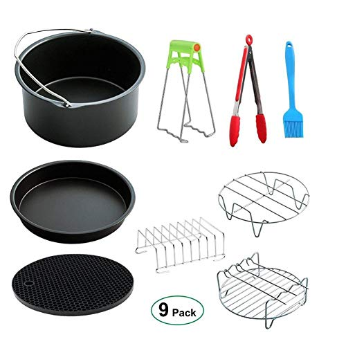 Cratone 8 Inch XL Air Fryer Accessories 9 Piece Deep Fryer Parts Pizza Pan Cake Barrel Skewer Rack Silicone Brush Mat Food Clip