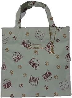 [スクレ・ラデュレ] LADUREE 猫柄 ロゴ入り チャーム付き トートバッグ M (ライムグリーン)