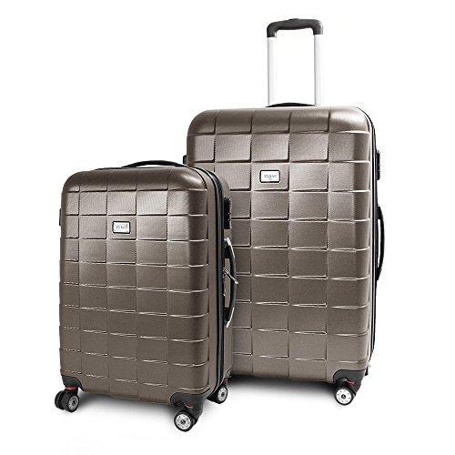 BERWIN Kofferset L + XL 2-teilig Reisekoffer Trolley Hartschalenkoffer ABS Teleskopgriff Modell Squares (Braun)