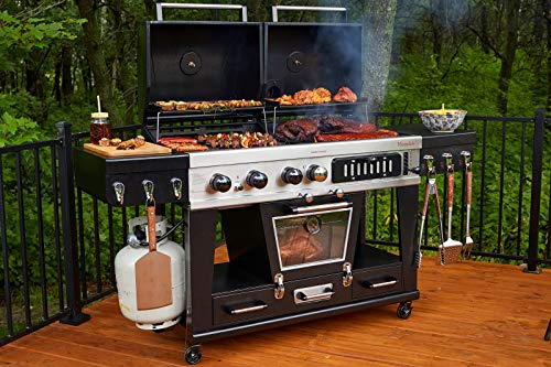 Pit Boss Memphis Ultimate 4-in-1 Kombigrill, schwarz, Stahl/Gusseisen, Smoker, Gas- und Holzkohlegrill