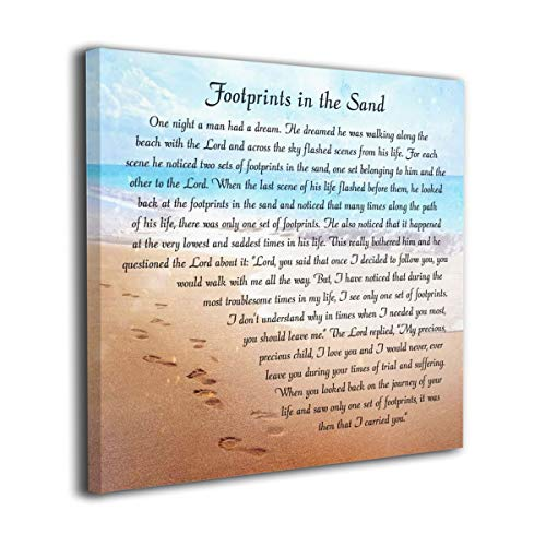 "CAPTIVATE HEART footprints in the sand Wall Art Sand Art Footprints,Morden Faith Wall Art Print On Canvas,Poetry Pictures for Living Room Decoration 12""x12"""
