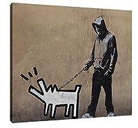 ボックス付き Banksyによる落書き芸術 ポスター バンクシ キャンバス アートパネル アートフレーム モダン フレーム アートボード 部屋飾り 壁掛け ソファの背景絵画 木枠 (男散歩犬, 40cmx50cm)