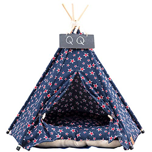 Estrella-L Pet Teepee Dog(Puppy) & Cat Bed - Portable Pet Tents & Houses For Dog(Puppy) & Small Pet Dog Tent,Cat Lace Style (With Cushion),M