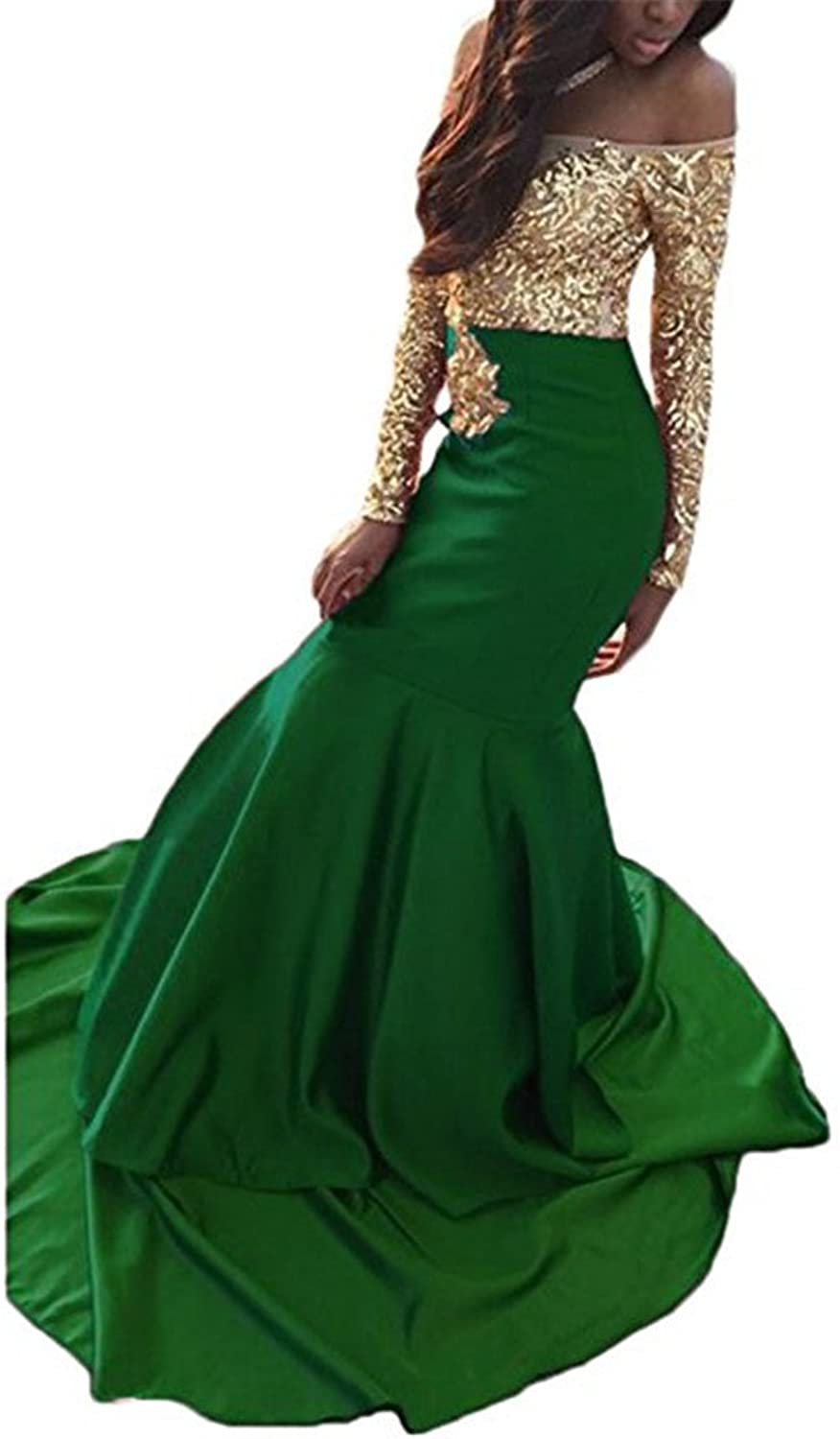 CCBubble Mermaid Prom Dresses 2018 Long Sleeves Prom Dress
