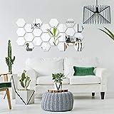 Adesivo da parete rimovibile in acrilico a specchio per casa, soggiorno, camera da letto (grande esagonale, 32 pezzi)